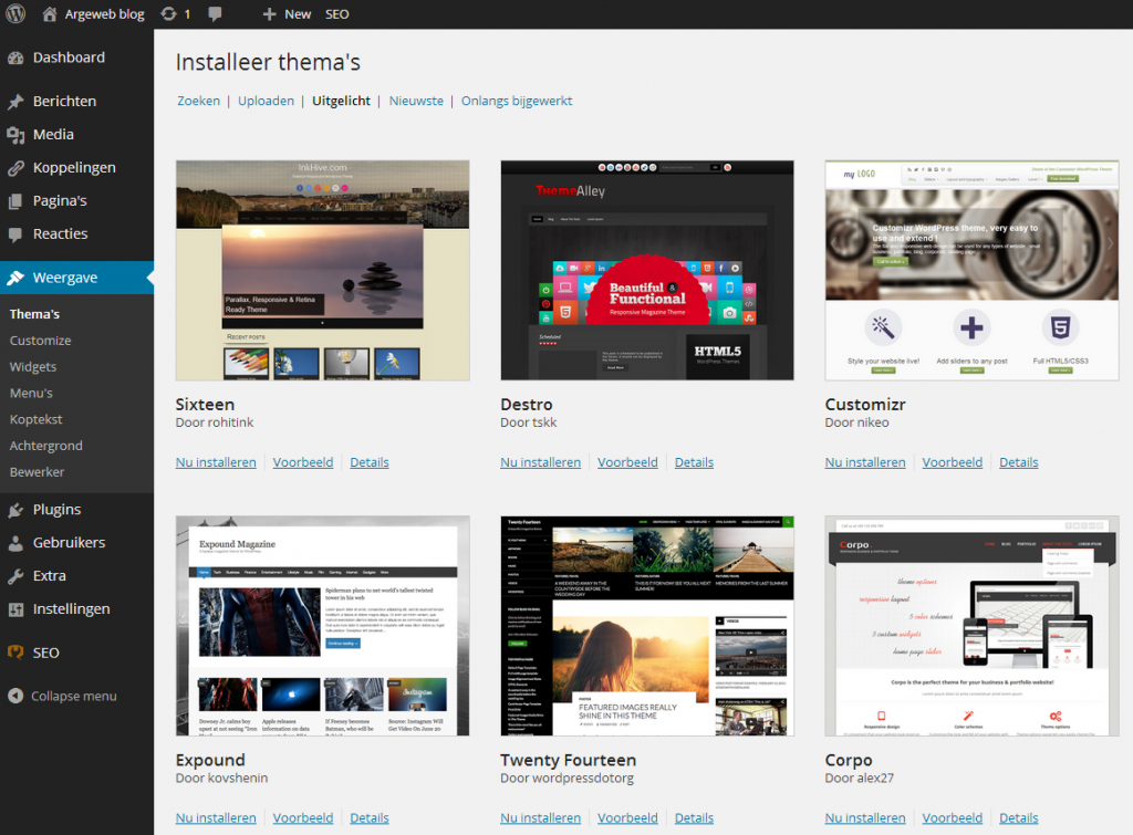 WordPress thema's uploaden