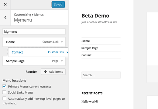 Wordpress menu customizer