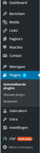 Plugin in je WordPress menu