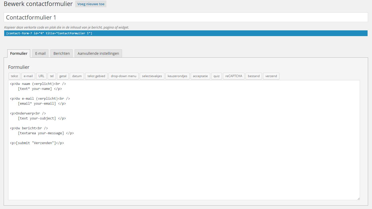 Contactformulier instellen WordPress