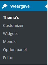 customizer menu wordpress