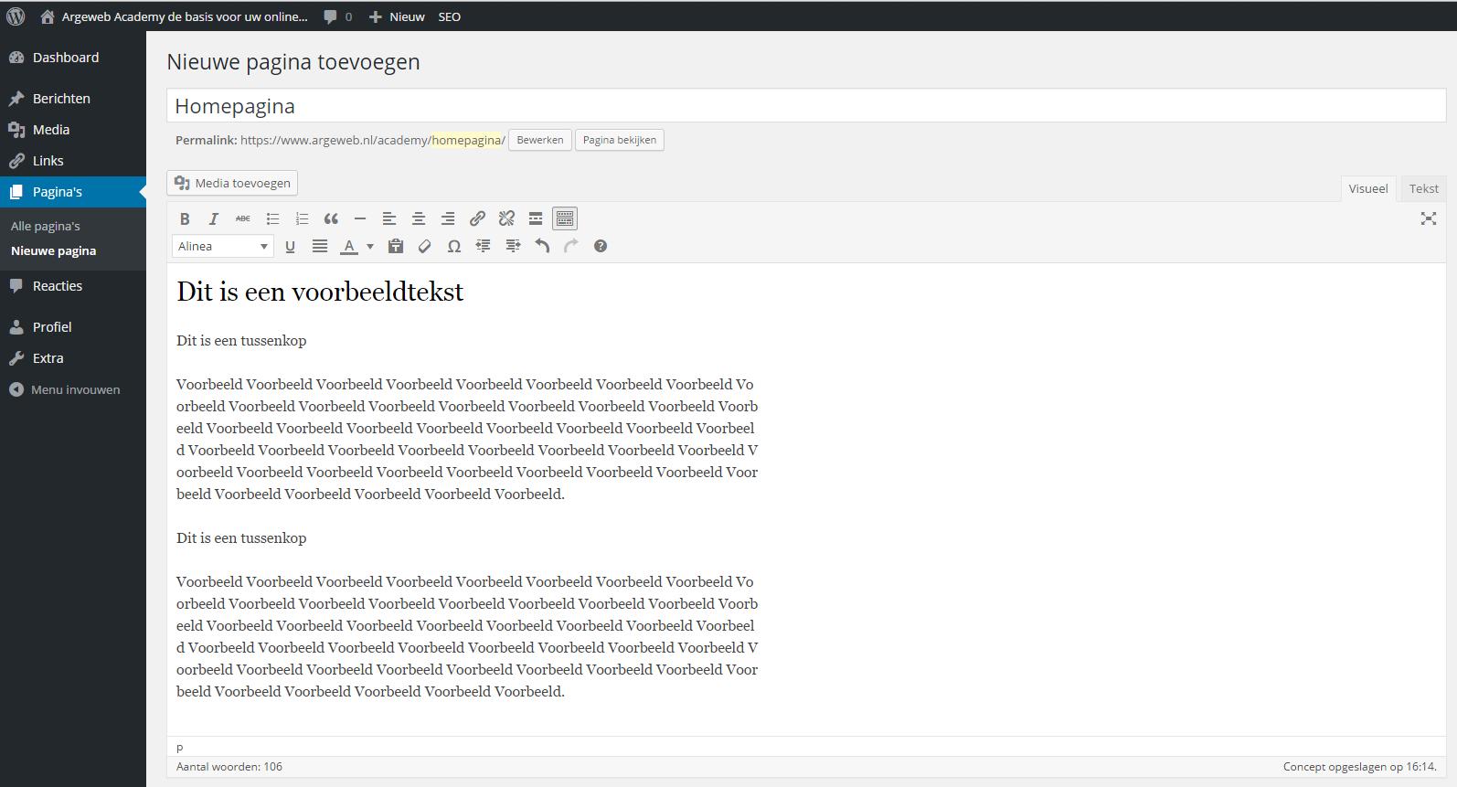 Koptekst zichtbaar in WordPress tekst