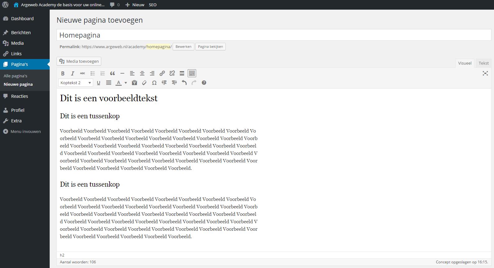 Alle tussenkoppen toegevoegd WordPress tekst