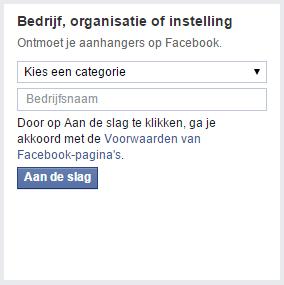 Bedrijfsinformatie toevoegen Facebook account