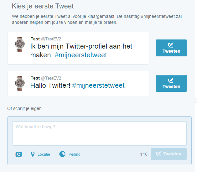Vooraf ingestelde eerste tweet op Twitter