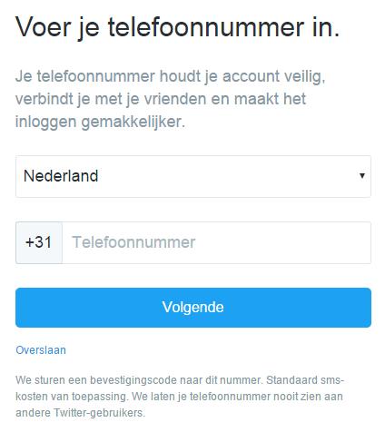 Telefoonnummer invoeren Twitter