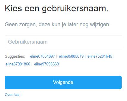 Gebruikersnaam toevoegen Twitter