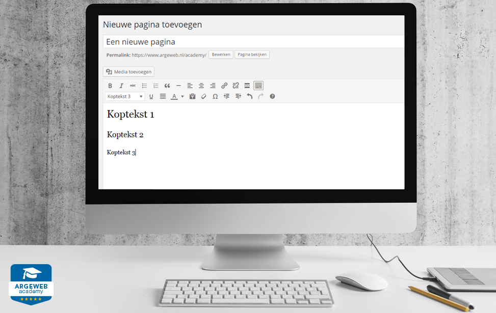 website menu inrichten en teksten schrijven