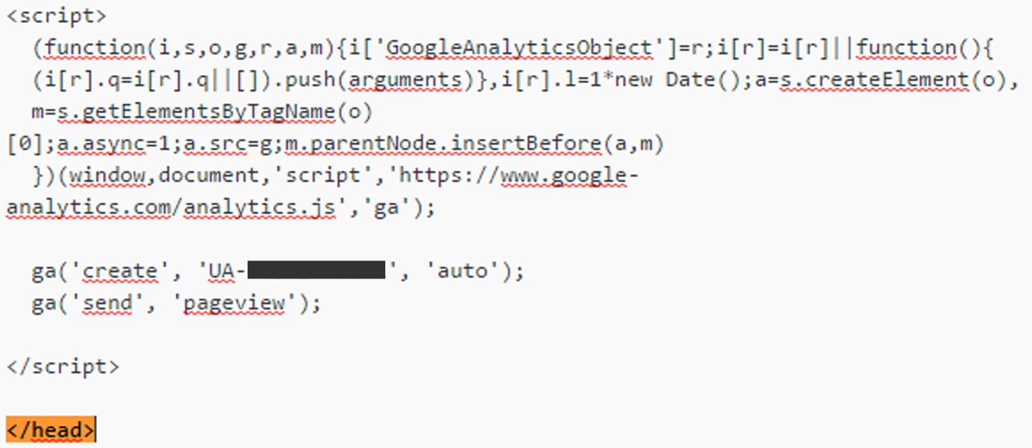 Google Analytics code plakken