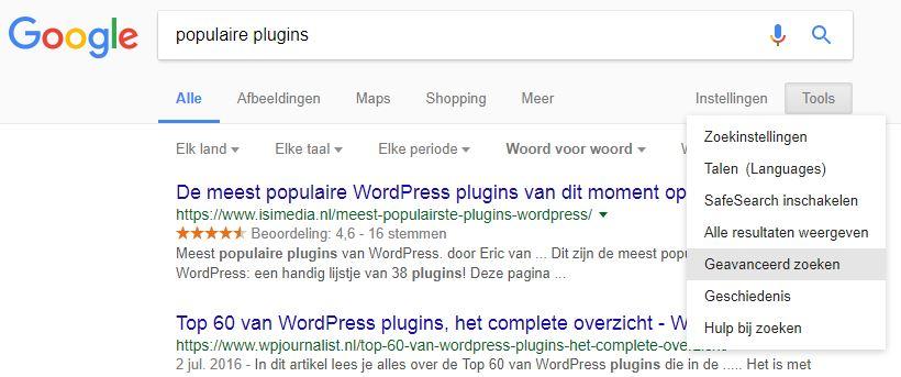 Google geavanceerd zoeken