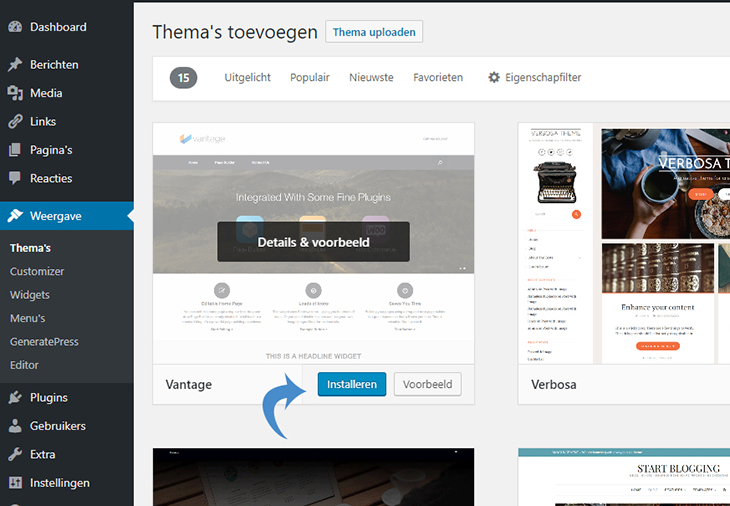 wordpress thema's installeren en activeren