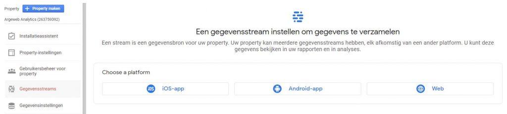 google analytics gegevensstream kiezen