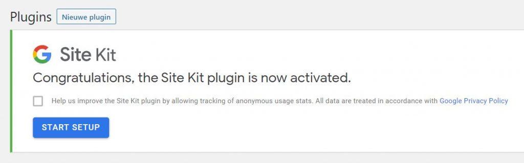 site kit plugin geactiveerd