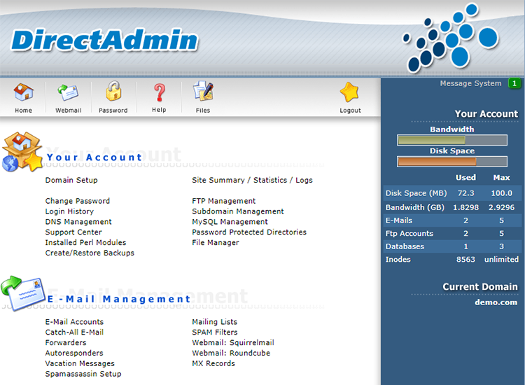 directadmin interface