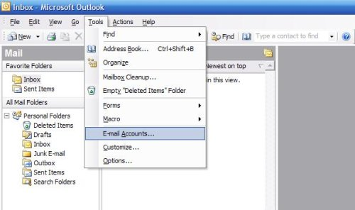Mailaccount toevoegen in Outlook 2003