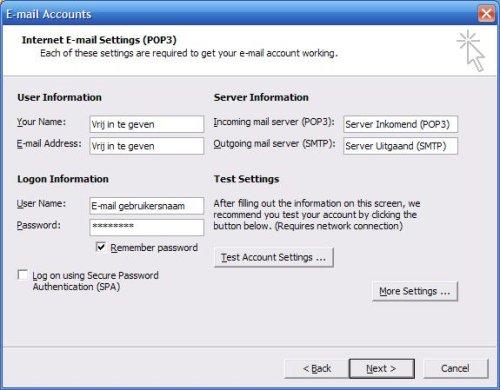 Gegevens van uw mailadres invoeren in Outlook 2003