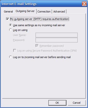Server voor uitgaande mail opgeven Outlook 2003