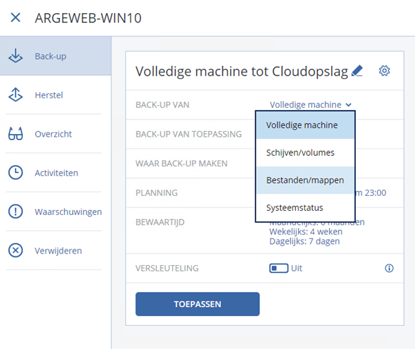 Acronis backup volledige machine