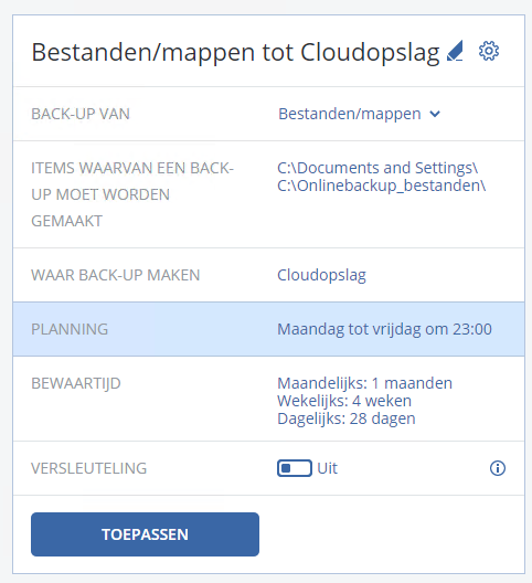 Acronis backup taak planning
