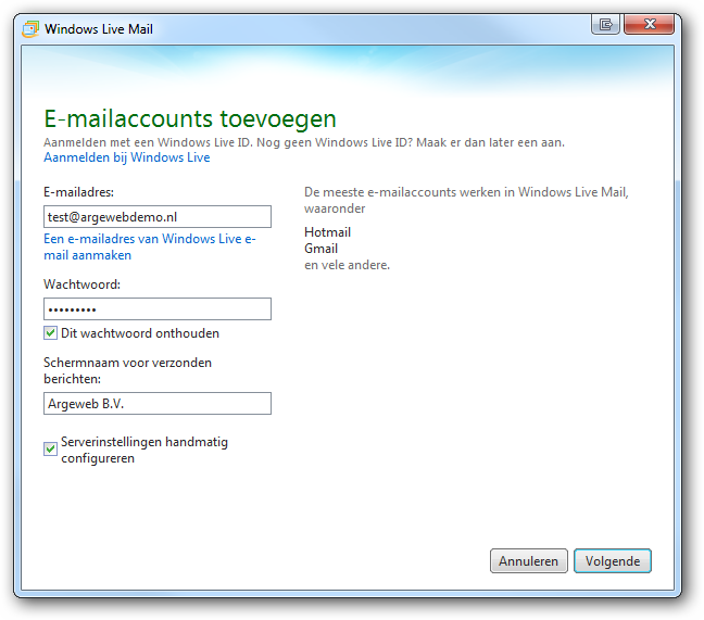 Account toevoegen Windows live Mail