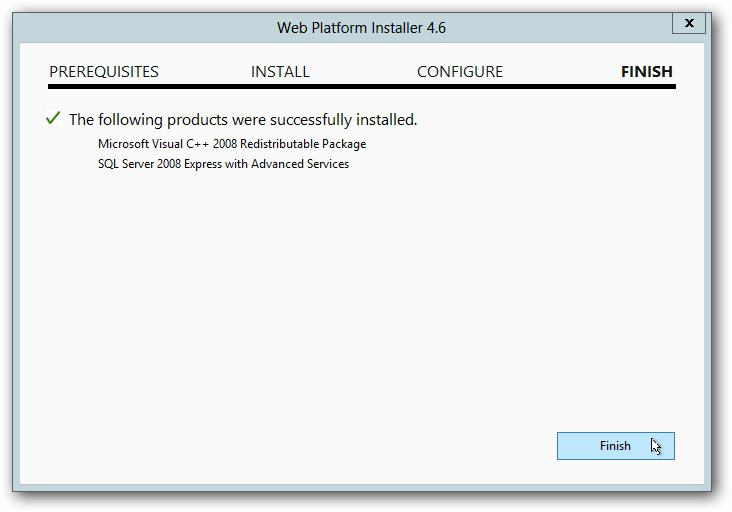Web Platoform Installer- Finish