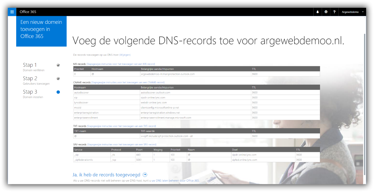 Office 365 DNS records
