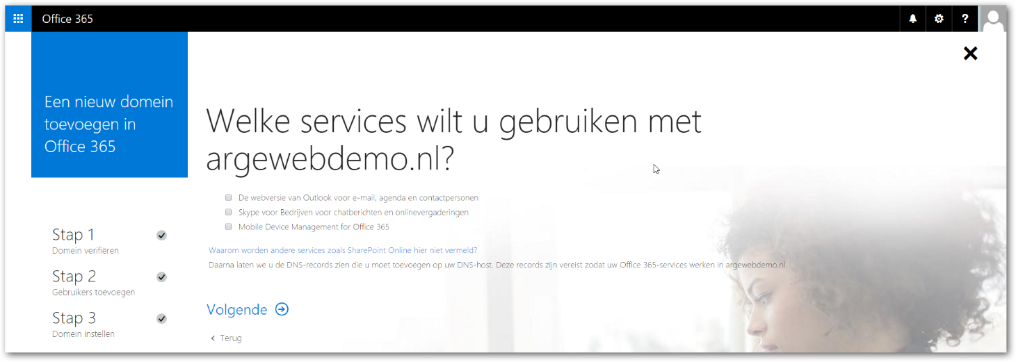 Office 365 Domein toevoegen services