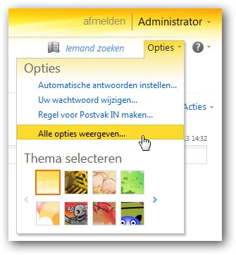 Outlook Web App- alle opties weergeven