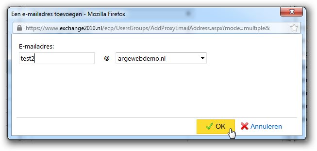 Outlook Web App- alias toevoegen