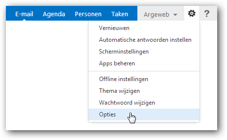 Outlook Web App instellingen