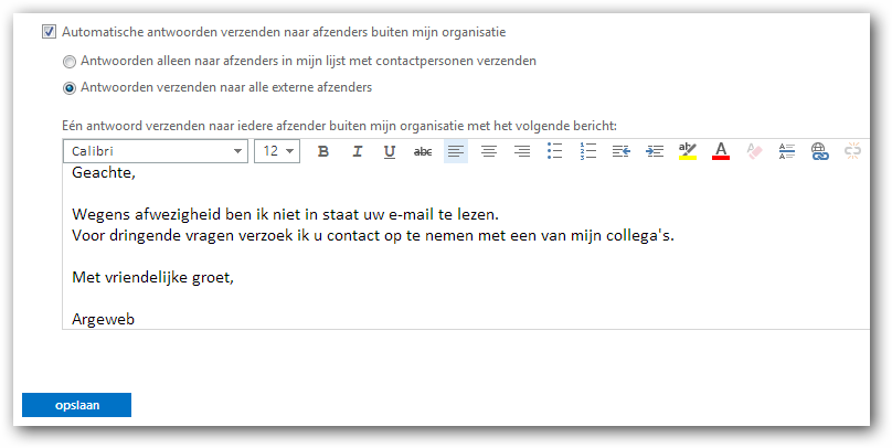 Out of office message outlook out of office instellen in owa 2013 argeweb to delay sending a - Out of office outlook 2013 ...