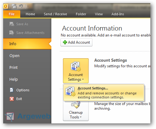Account toevoegen in Outlook 2010