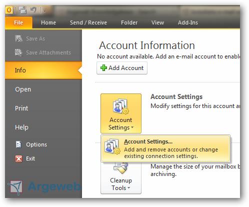 Account toevoegen in Outlook 2010