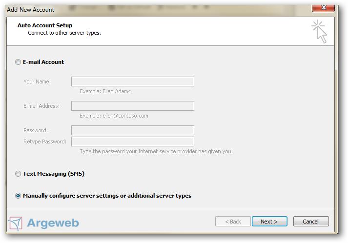 Handmatig account toevoegen Outlook 2010