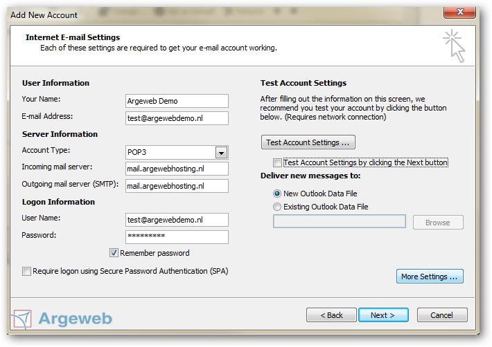 Nieuw account toevoegen Outlook 2010