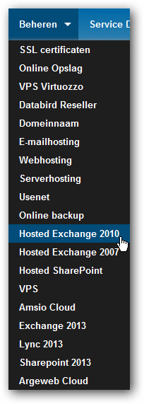 Beheren Hosted Exchange 2010